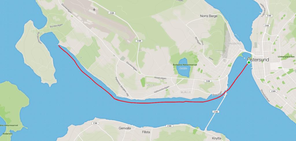 Kartbild över dagens tur